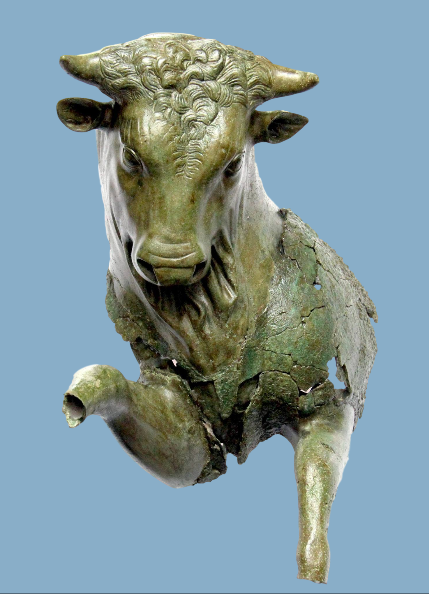 Toro cozzante, bronzo, V sec. a.C.