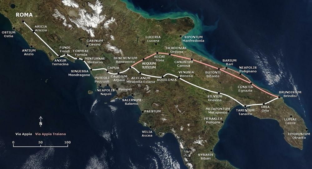Il tracciato della Via Appia (in bianco). Il tratto in rosso è l'Appia Traiana