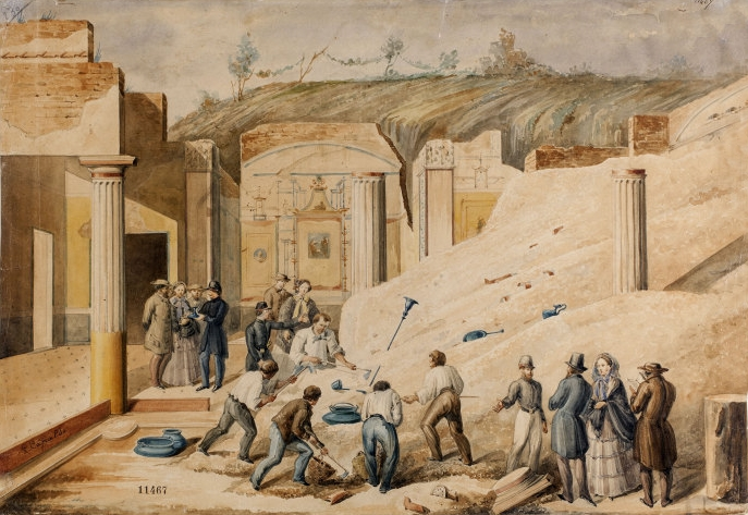 Luigi Capaldo, Scavo archeologico a Pompei 1860 ca. disegno su carta vergata china e acquarello, Museo Nazionale S. Martino, Napoli