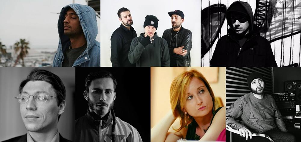 Da sin. in alto: John Durrell, Keepitparty, Kiave, Marko Miladinovic, Shekkero, Silvia Moresi, Valerio Millefoglie