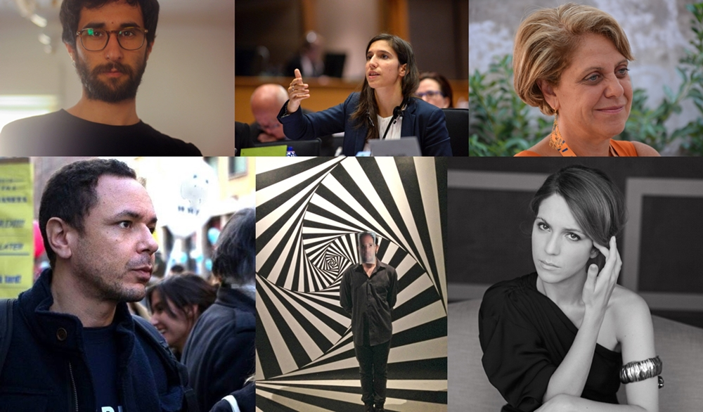 In alto da sin.: Antonio Inzalaco, Elly Schlein, Paola Caridi. In basso, da sin.: Vittorio Longhi, Valdyart, Isabella Ragonese