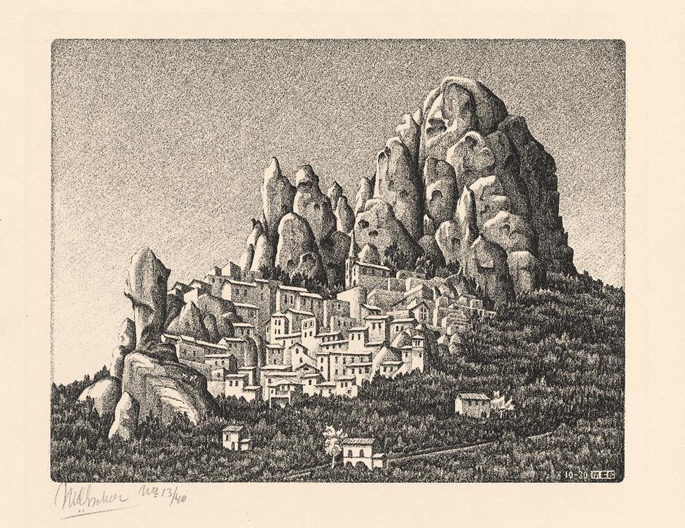 M.C. Escher, Pentedattilo, Calabria, 1930, Litografia, 19,7 x 22,5 cm - Collezione Privata Italia