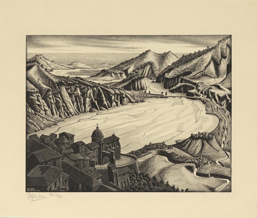 M.C. Escher, Fiumara (di Stilo), Calabria, 1930, Litografia, 22,7 x 29,9 cm - Collezione Privata Italia