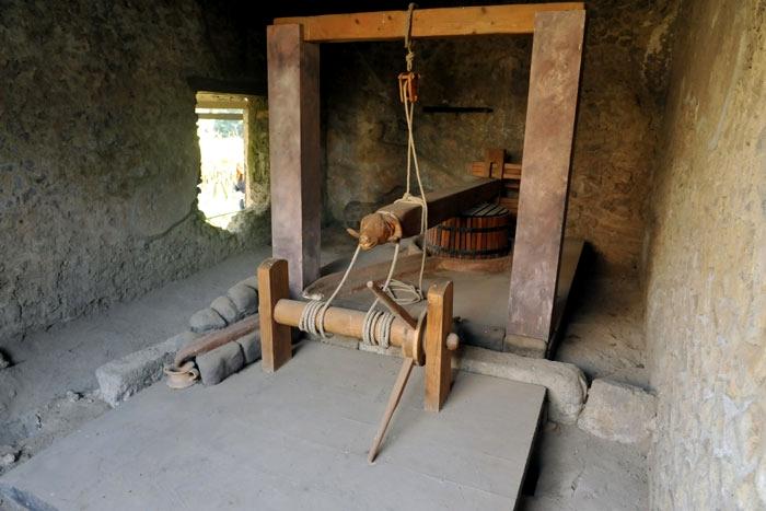 Ricostruzione di un torcularium, Pompei - Image by Soprintendenza Archeologica di Pompei