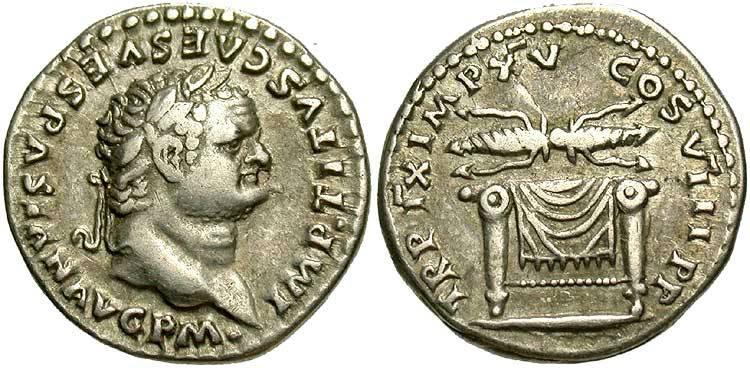Esemplare di denario dell'imperatore Tito, I sec. d.C.