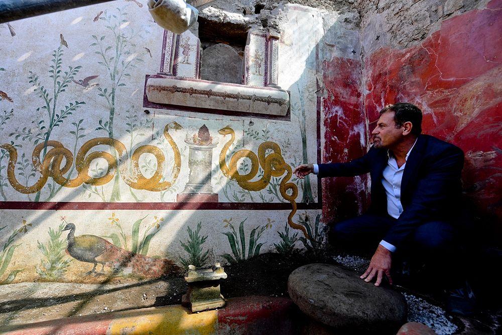 Il soprintendente di Pompei, Massimo Osanna, accanto al larario appena scoperto - Ph. © Ciro Fusco