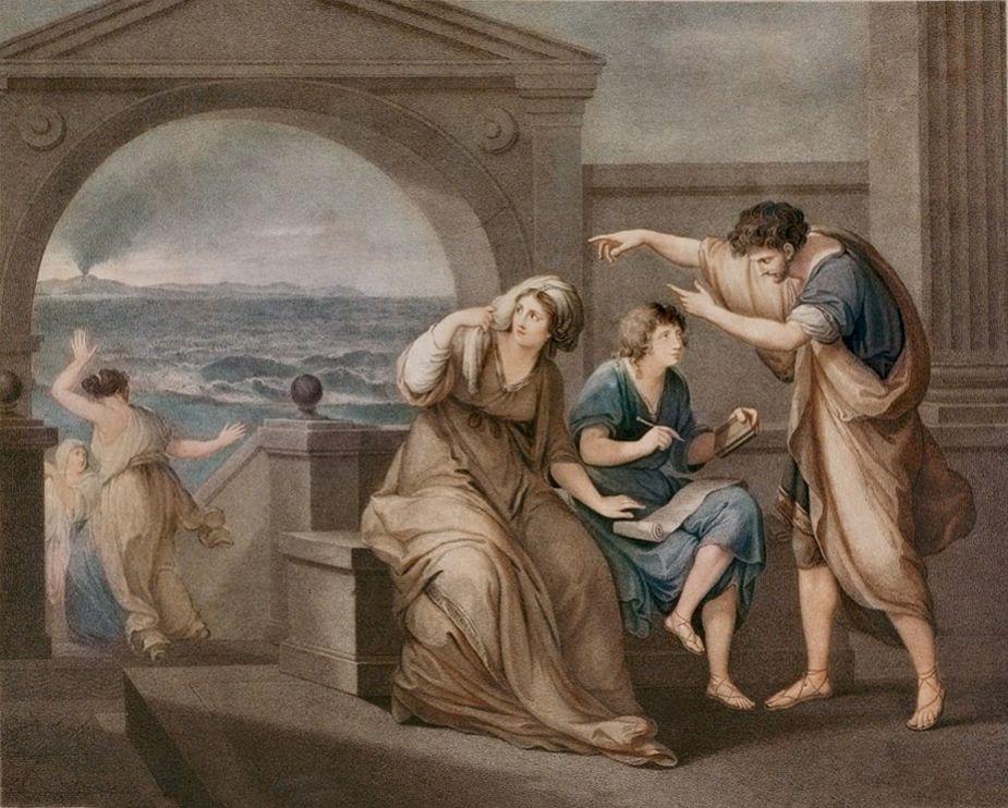 Plinio il Giovane con lo zio e la madre a Miseno, incisione tratta da un dipinto di Angelica Kauffmann del 1785