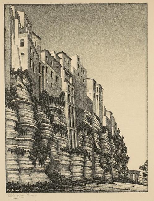 M. C. Escher, Tropea, Calabria, 1931, litografia su carta color crema