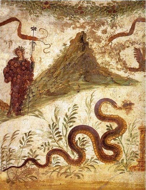 Part. del larario con Dioniso e il Monte Vesuvio - Image courtesy Sorpintendenza Archeologica Pompei