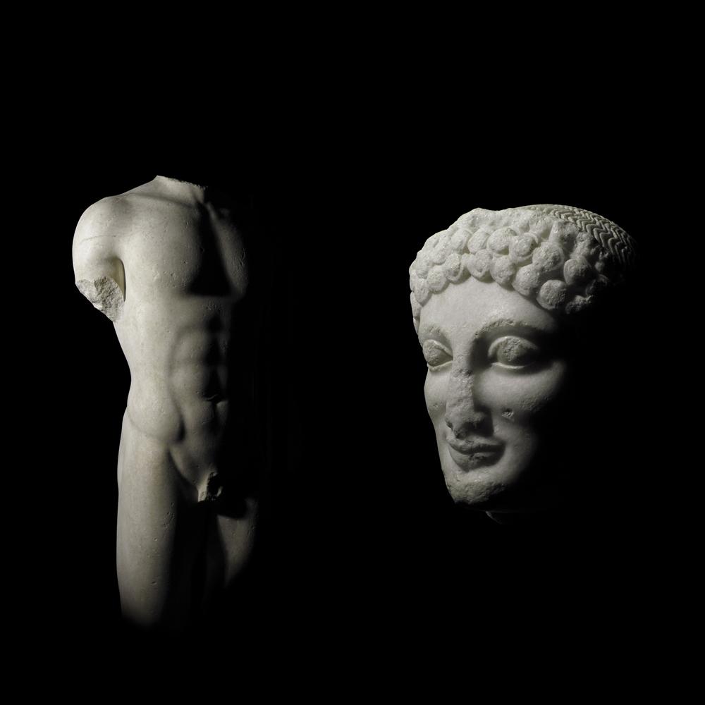 I due frammenti del Kouros di Lentini