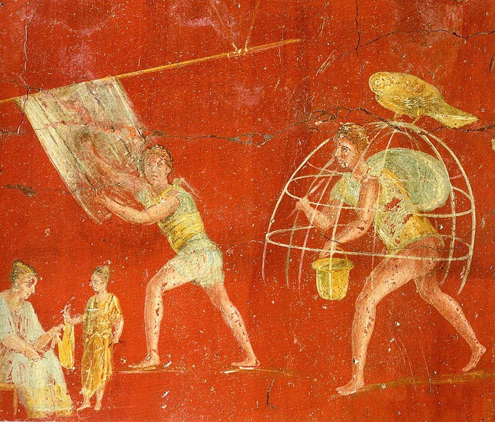 Affresco (part.) dalla tintoria di Veranius Hypsaeus, Pompei - Museo Archeologico Nazionale, Napoli