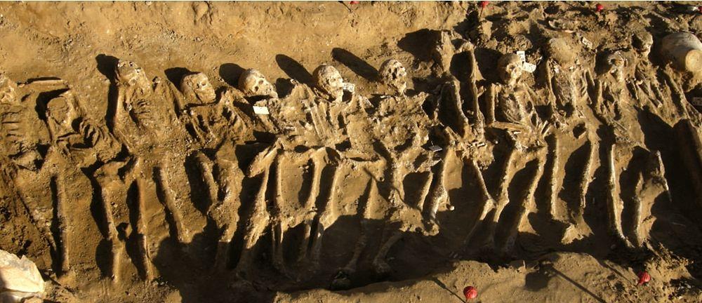 Scorcio di una delle fosse comuni maschili di caduti in battaglia - Fonte: Soprintendenza Archeologica Palermo