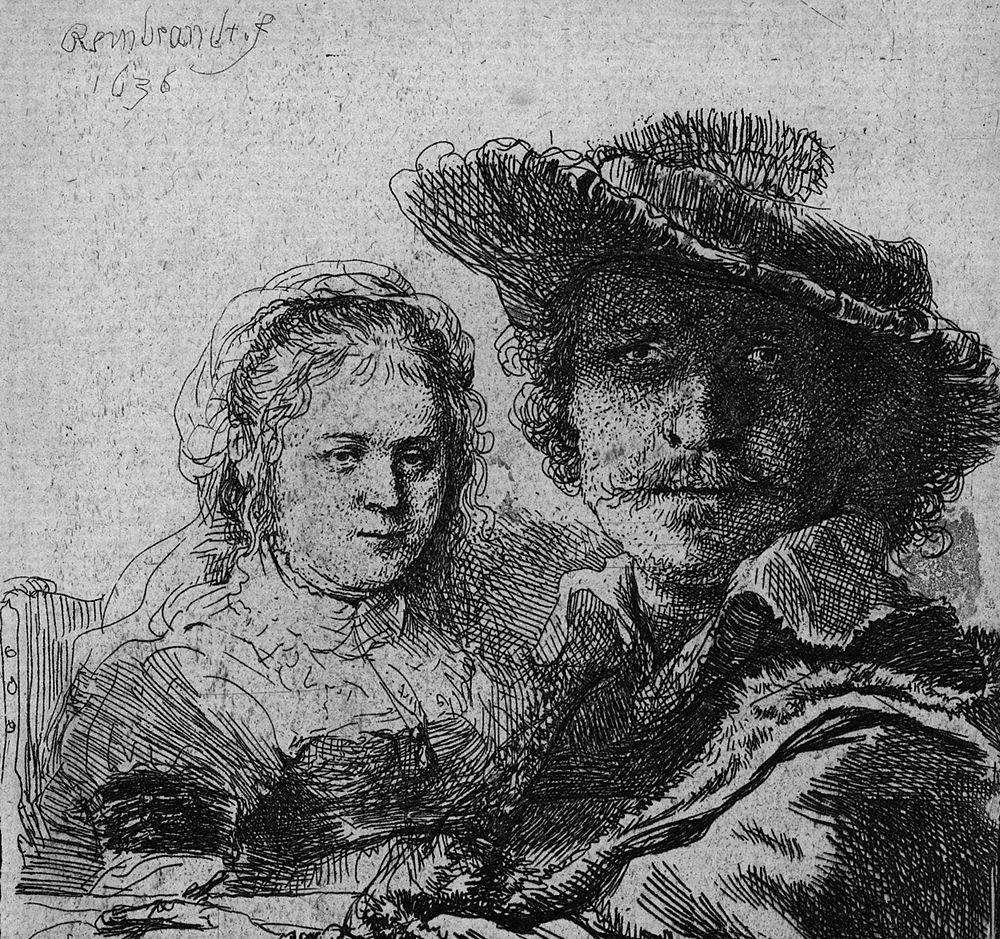Rembrandt, Autoritratto con Saskia, 1637, acquaforte