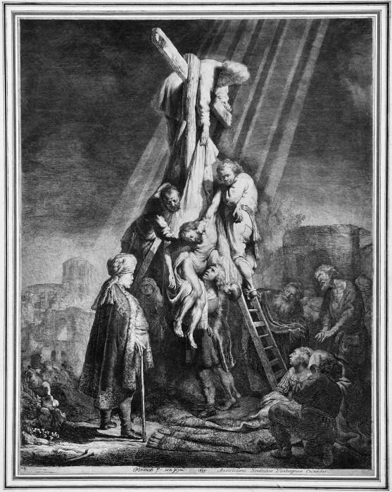 Rembrandt, La deposizione dalla croce, 1633, acquaforte e bulino, 521 mm. x 410 mm