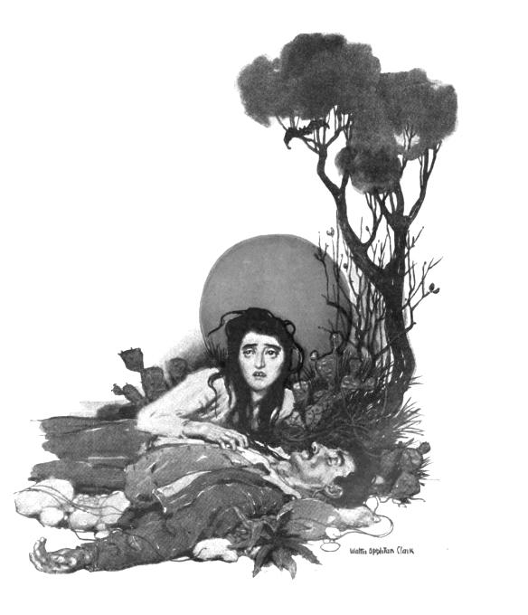 """""""la luce cadde sulla gola riversa di Angelo, mentre un filo rosso di sangue gli colava lungo il collo..."""" - Illustrazione di Walter Appleton Clark, Collier's Weekly Magazine, 16 dic. 1905"""