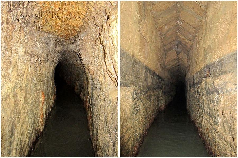 Le due tipologie di cunicoli dell'Acquedotto del Triglio - Ph. © Alessandro Romano