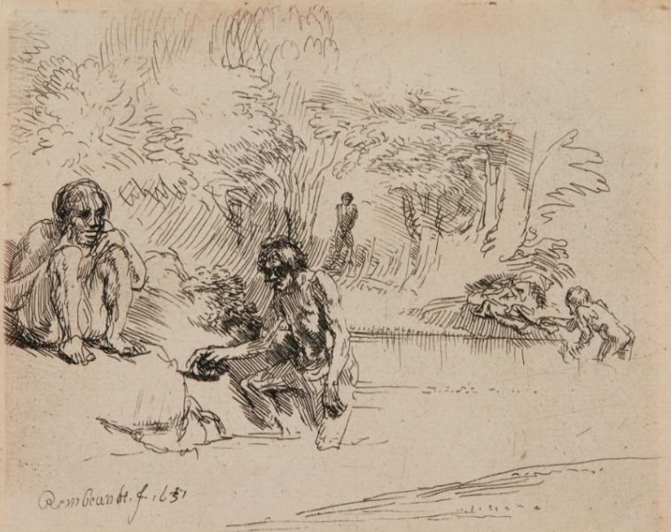 Rembrandt, Uomini al bagno, 1651, acquaforte, 112 mm. x 146 mm