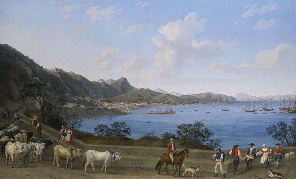 Jacob Philipp Hackert, Il porto di Salerno visto da Vietri, con mandriani e altre figure in primo piano. Sullo sfondo il Castello di Arechi e vascelli nella baia - Coll. priv.