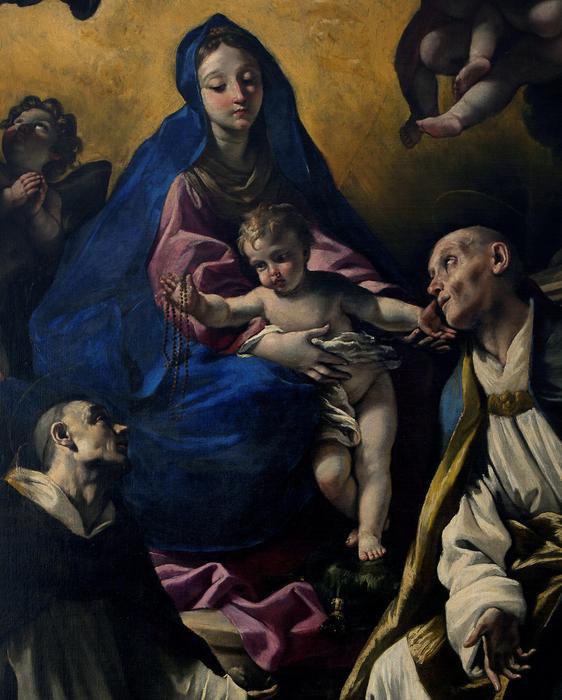 """Giovanni Lanfranco (Parma 1582 - Roma 1647) """"Madonna con il Bambino e i santi Domenico e Gennaro"""" (particolare). Museo della Certosa di San Martino in Napoli"""