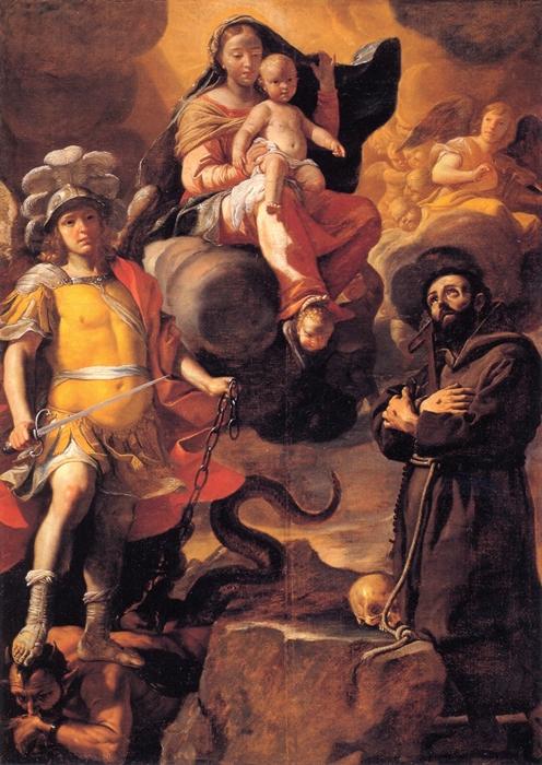 Mattia Preti, Madonna degli angeli con S. Michele Arcangelo e S. Francesco d'Assisi, 1680 ca.