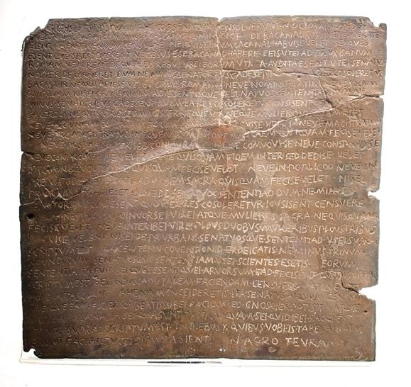 Il Senatusconsultum de bacchanalibus trovato a Tiriolo, bronzo, II sec. a.C.