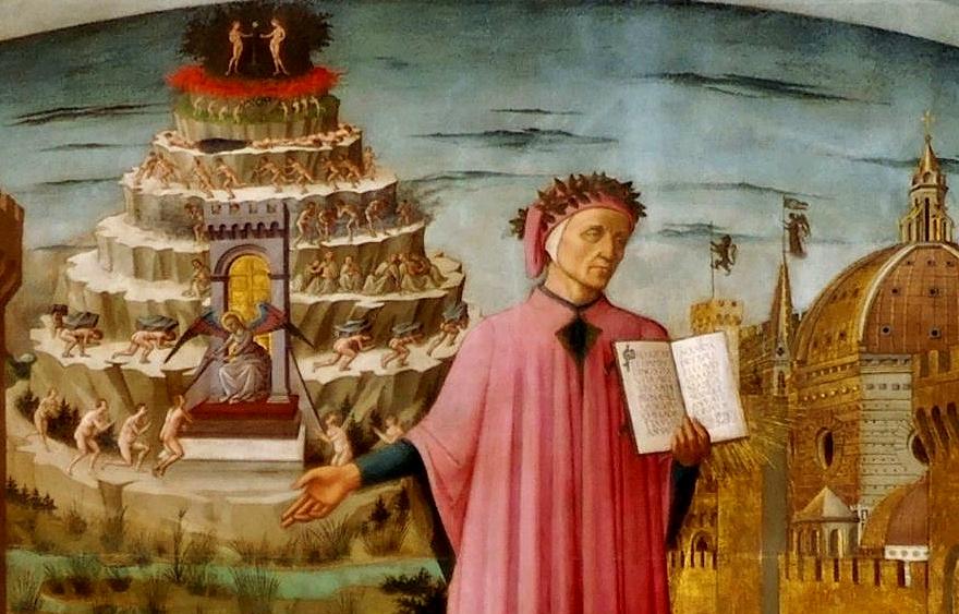 Dante Alighieri nell'affresco di Domenico di Michelino, 1465, S. Maria del Fiore, Firenze