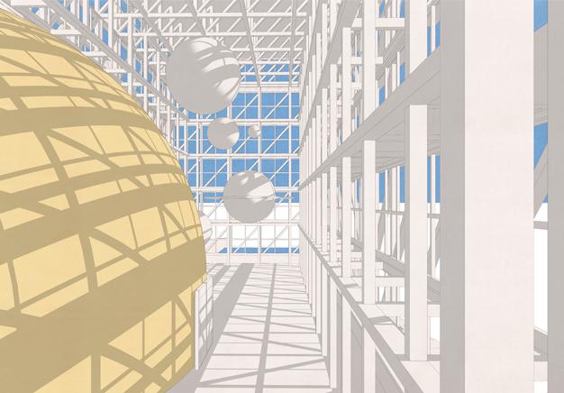 Scorcio interno del Planetario di Cosenza | Rendering by Studio Monestiroli