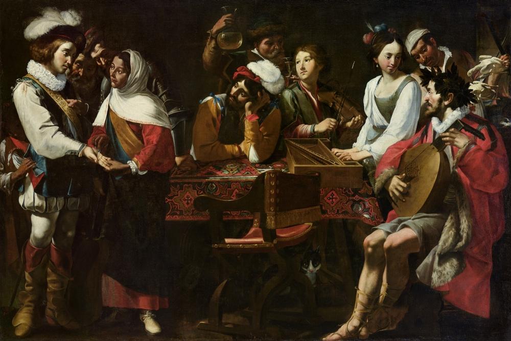 Gregorio e Mattia Preti, Concerto con scena di buona ventura (Allegoria dei cinque sensi), 1630-1635, olio su tela, Accademia Albertina, Torino