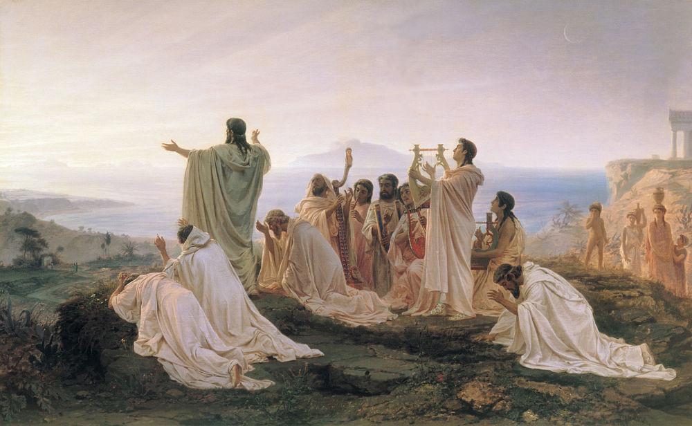 Fyodor Bronnikov, I Pitagorici salutano il sole all'alba, 1869, Tretyakov Gallery, Mosca