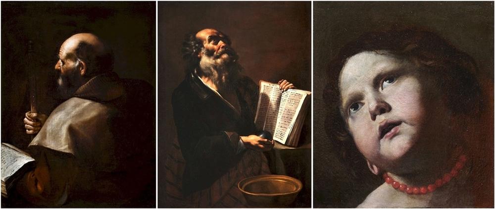 Tre dei quattro inediti di Mattia Preti in mostra: Apostolo, Archimede, Testa di bambina