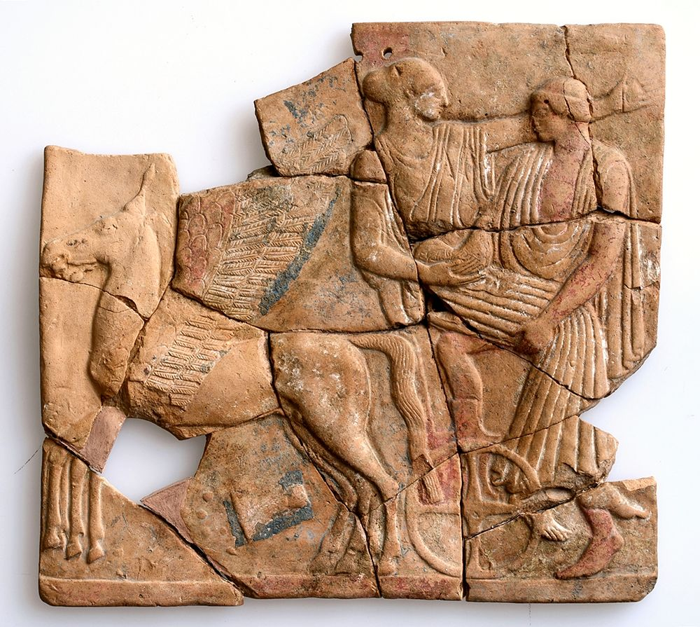 Pinax con scena del ratto di Persefone da parte di Ade, Locri, V sec. a.C. - Museo Archeologico Nazionale di Reggio Calabria
