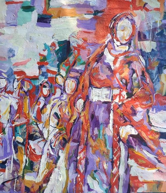 Ahmed Abualrob, Vite in Terra, olio su tela, 2019