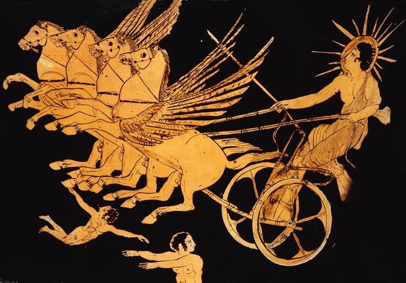 Il dio greco Helios sul carro del Sole, part. di un vaso attico