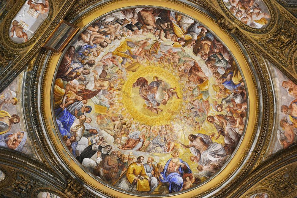 Angelo Solimena e bottega, la cupola affrescata della chiesa di S. Giorgio, Salerno - Image source