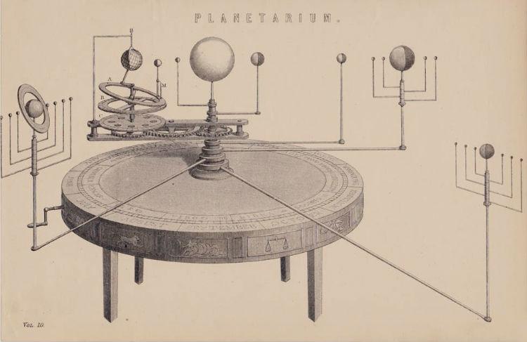 Modello di antico planetario da tavolo