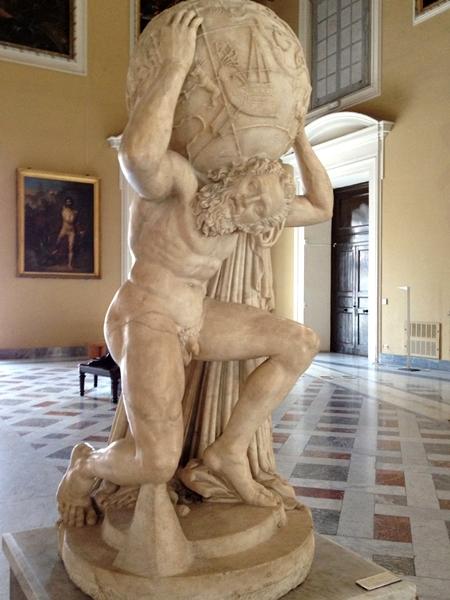 L'Atlante nella Sala della Meridiana, sede della mostra, Museo Archeologico Nazionale, Napoli