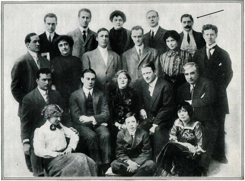 Tony Gaudio (in alto a destra con i baffi) e il team della IMP (la donna seduta al centro è Mary Pickford). Foto apparsa sul magazine The Moving Picture World dell'11 febbraio 1911