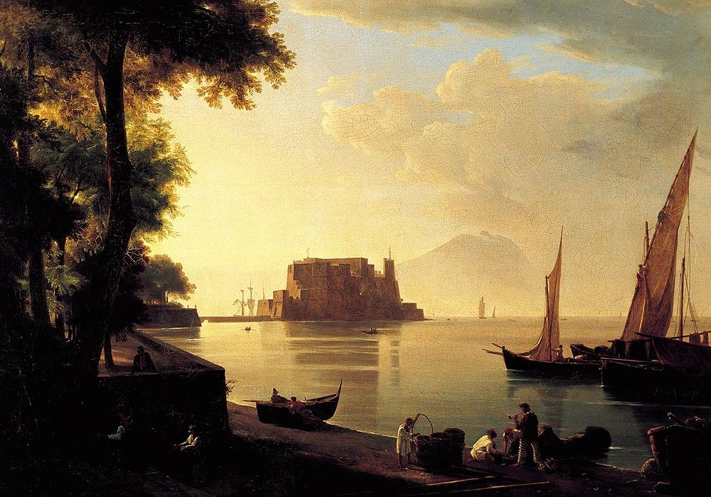 Anton Sminck van Pitloo, Castel dell'Ovo dalla spiaggia, olio su tela (1820-24 ca.), Roma, Galleria Nazionale d'Arte Moderna