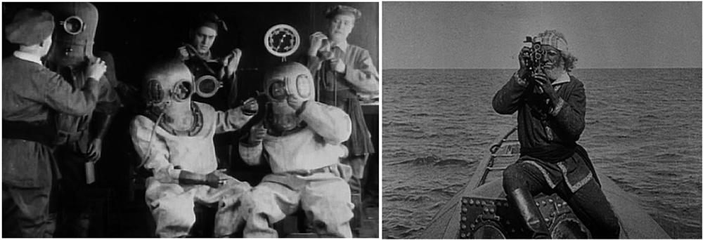 Due fotogrammi del film 20,000 Leagues Under the Sea (1916) di Stuart Paton