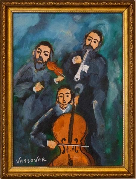 Jacob Vassover (Lodz, 1926 - Tel Aviv, 2008), Musicisti Klezmer, olio su tavola, 1980