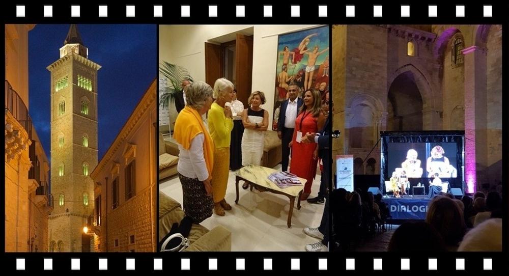 """Da sin. la Cattedrale di Trani, Helen Mirren con gli organizzatori de """"I Dialoghi di Trani"""", l'intervista in P.zza Addazi"""