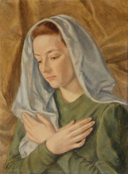 Wanda Coen Biagini, Ritratto di donna velata, olio su tela, 1942 | Donazione Malini