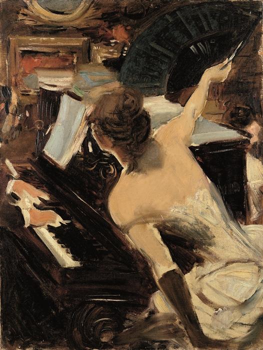 Giovanni Boldini, La cantante mondana, c. 1884. Olio su tela, Collezione Fondazione Carife, in deposito presso Gallerie d'Arte Moderna e Contemporanea, Ferrara