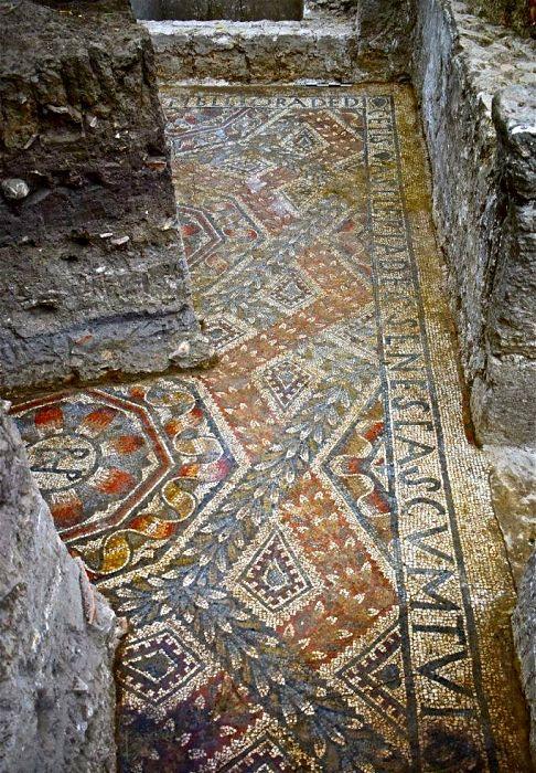 Mosaico con iscrizione, Villa romana di c.da Gerace, Enna, IV sec. d.C.