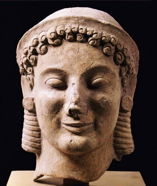 Testa maschile in terracotta daMedma, VI sec. a.C., Museo Archeologico di Medma, Rosarno (RC)