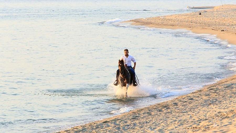 Stefano Battista a cavallo su una spiaggia del reggino, in Calabria