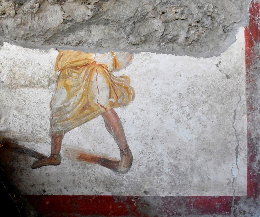 Framento di figura maschile su un affresco prospiciente quello con la coppia di gladiatori, Pompei, Regio V
