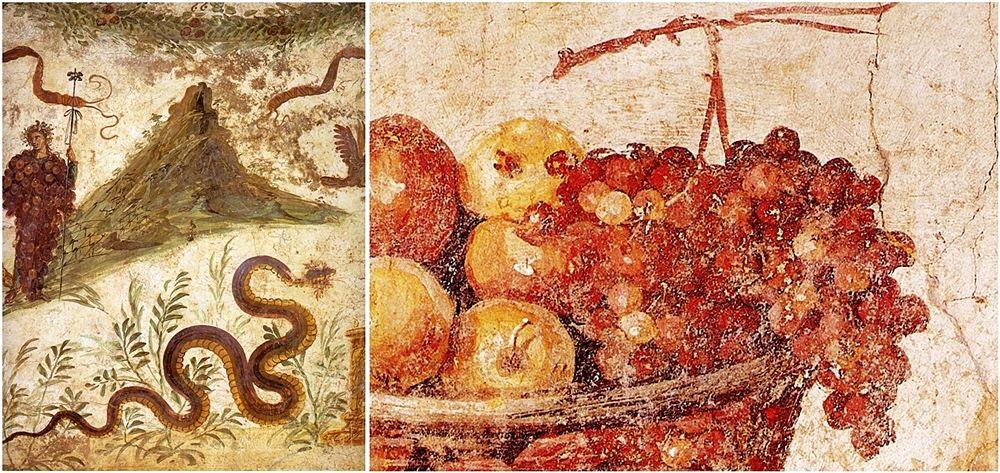 Bacco in forma di grappolo e Monte Vesuvio (affresco dal larario della Casa del Centenario, Pompei) e part. di affresco con uva e altra frutta