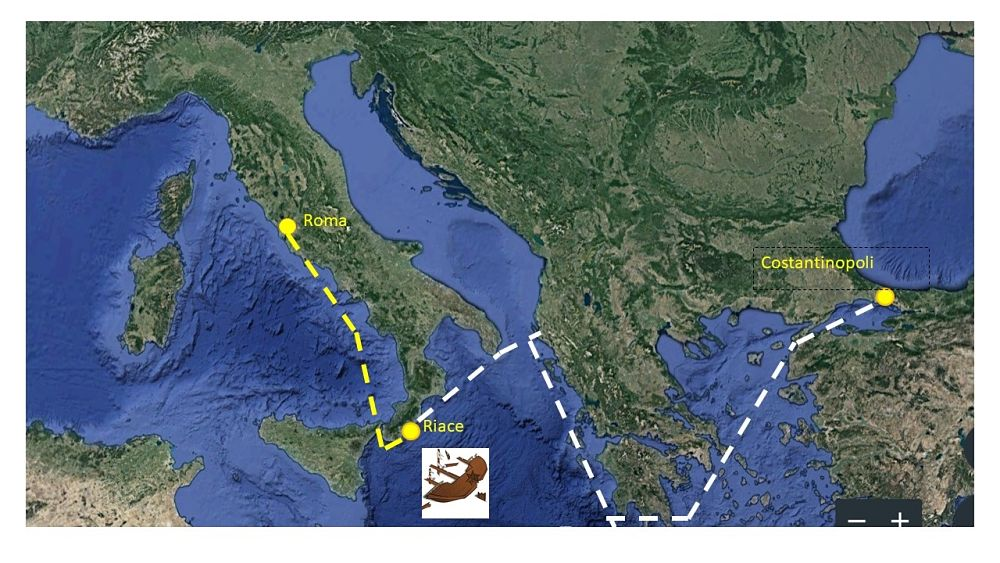 Il tragitto effettivo (in giallo) e quello programmato ma mai portato a compimento per via del naufragio