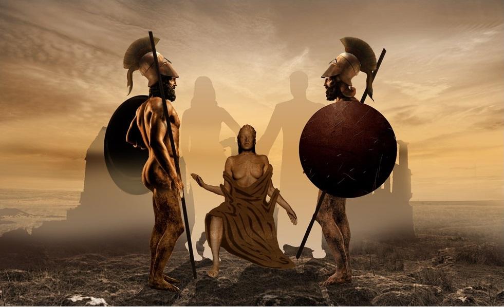 I Bronzi di Riace come Eteocle e Polinice nella scena con la madre Giocasta che tenta di dissuaderli dallo scontro - Elaborazione grafica